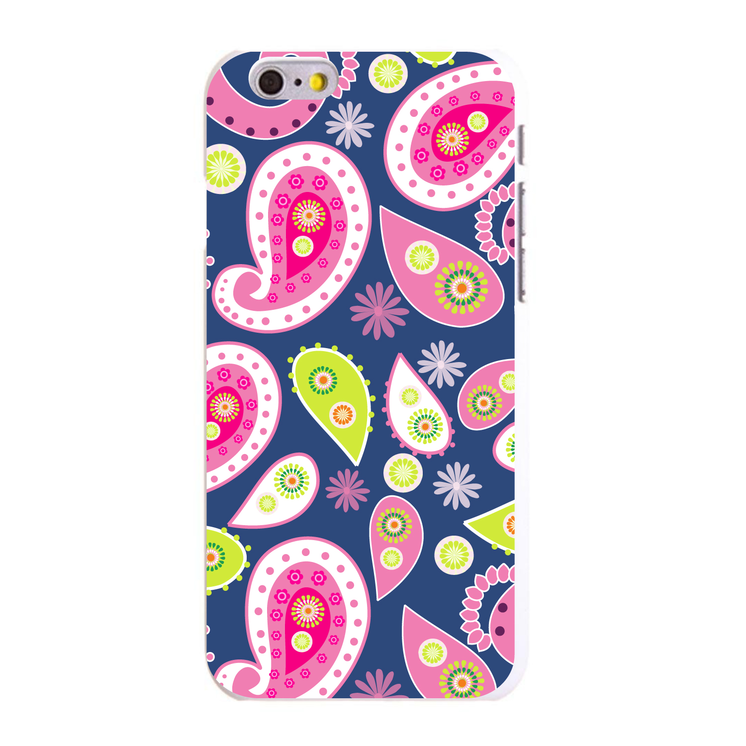"""CUSTOM White Hard Plastic Snap-On Case for Apple iPhone 6 PLUS / 6S PLUS (5.5"""" Screen) - Pink Green Navy Paisley"""