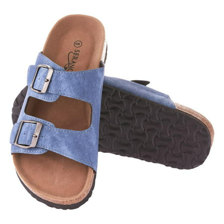 Seranoma Cork Sandals For Women: Casual Slide Summer For Spring And Summer, Comfortable Cushioning, 2 Individual Straps With Adjustable Buckles, Platform Wedge Sole, Easy Slip On - Birkenstock Girls
