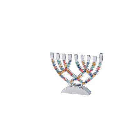 Contemporary Menorah with Multi Colored Inlay