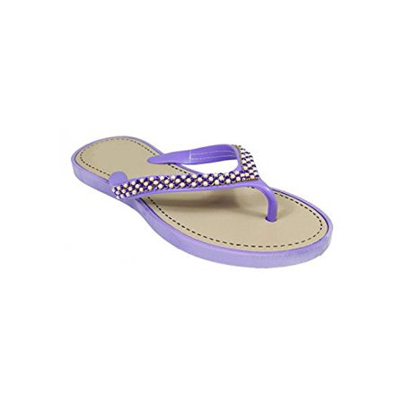 Peach Couture Beaded Pearl Embellished Thong Flat Flip Flop Sandals Purple 11 - Sandals Beaded