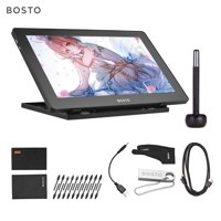 BOSTO 16HDK Portable 15.6 Inch H-IPS LCD Graphics Drawing Tablet Display 8192 Pressure Level Active Technology USB-Powered Low Consumption Drawing Tablet with Interactive Stylus Pen