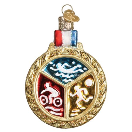 Old World Triathlon Medallion Glass Tree Ornament 36201, Triathlon Medallion Glass Tree Ornament 36201 By Old World Christmas ()
