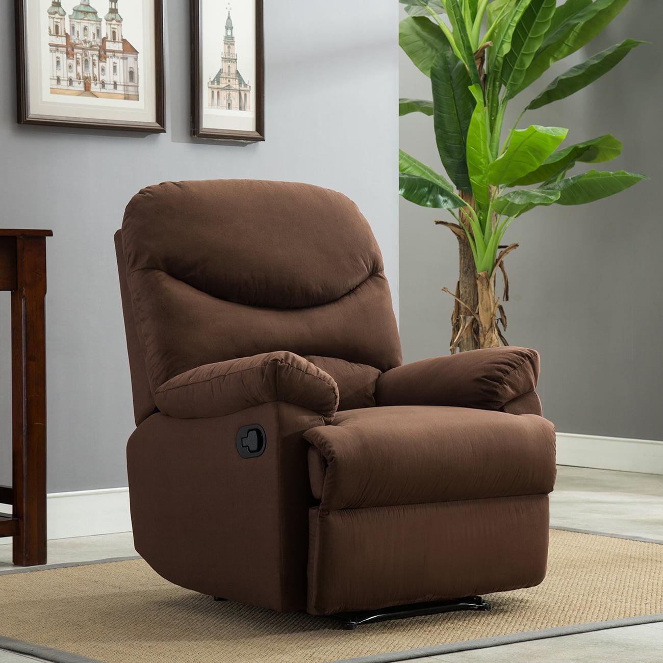 Belleze Microfiber Recliner Sofa Chair Reclining Positions Ergonomic Armrests Footrests Brown