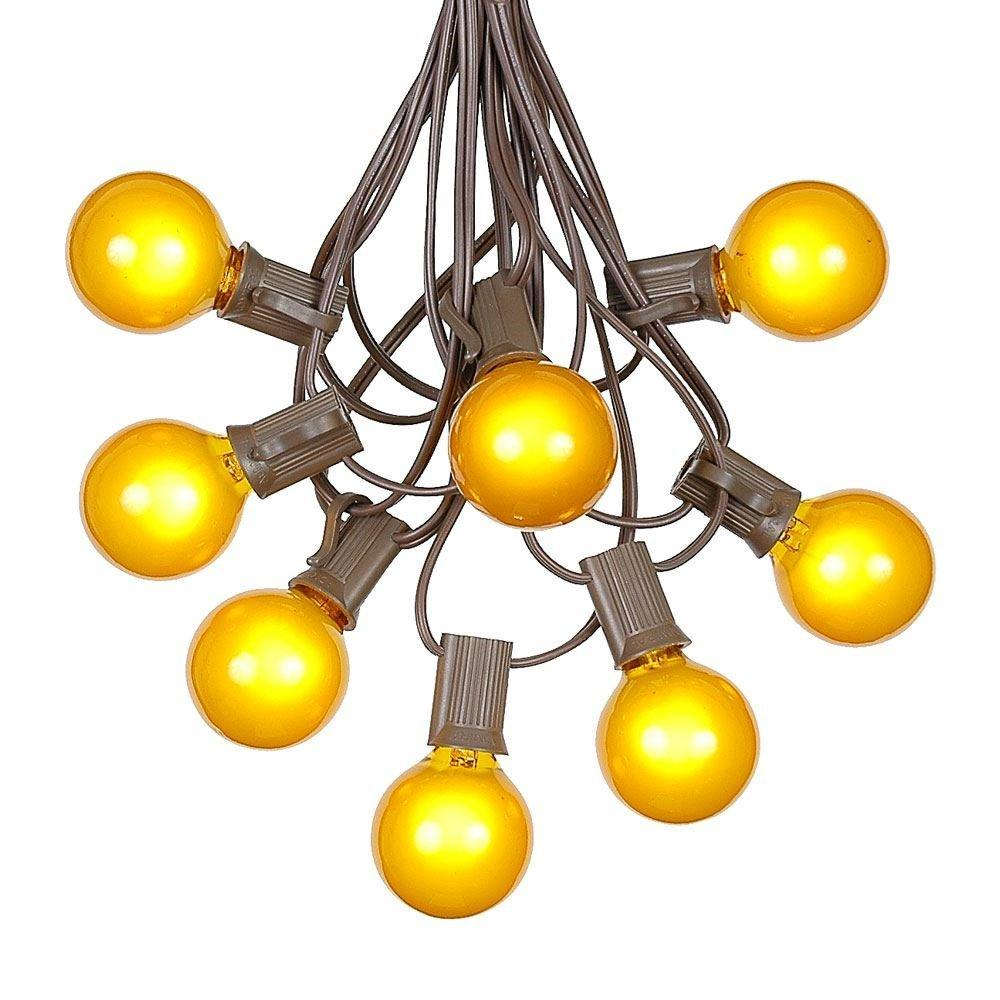 g40 patio string lights with 25 clear globe bulbs  outdoor string lights  market bistro caf hanging string lights  patio garden umbrella globe lights - brown wire - 25 feet