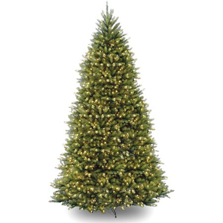 National Tree 10ft Pre-Lit Dunhill Fir Hinged Artificial Christmas Tree with 1200 Clear Lights - Green