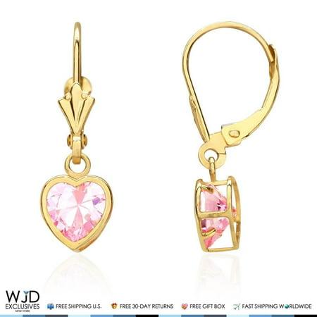 Bezel Set Heart Shaped Pink Tourmaline Dangle Leverback Earrings 14K Yellow