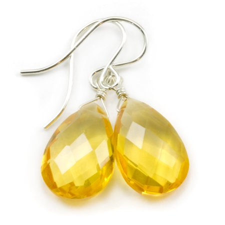 Citrine Simulated Earrings Yellow Faceted Cut Pear Shape Teardrop Sterling Silver Spyglass Designs Cut Faceted Pear