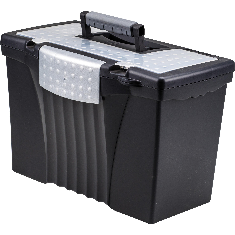 Storex, STX61510U01C, Portable File Storage Box with out rganizer Lid, 1 / Carton, Black
