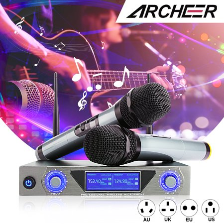 ARCHEER UHF Wireless Microphone Receiver System with 2 Cordless LCD Display Handheld Dynamic Microphones - For Outdoor Wedding Conference Karaoke Microphone Systems Party ()