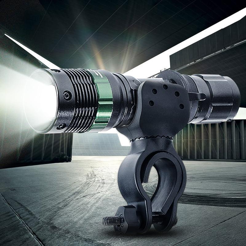 Elfeland 2000Lumens T6 LED Zoomable Flashlight Torch Lamp Light 3-Mode + Flashlight Mount Bracket Holder For Fishing Camping