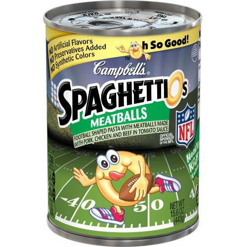 Campbell's SpaghettiOs  Canned Pasta, Football Shapes with Meatballs, 15.6 oz. Can