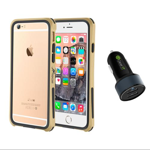 iPhone 6 Case Bundle (Case + Charger), roocase iPhone 6 4.7 Linear Bumper Open Back with Corner Edge Protection Cover with Black 4.4A Car Charger for Apple iPhone 6 4.7-inch, Champagne Gold