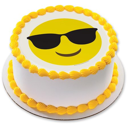 Sunglasses Emoji 75 Round Edible Cake Topper Each