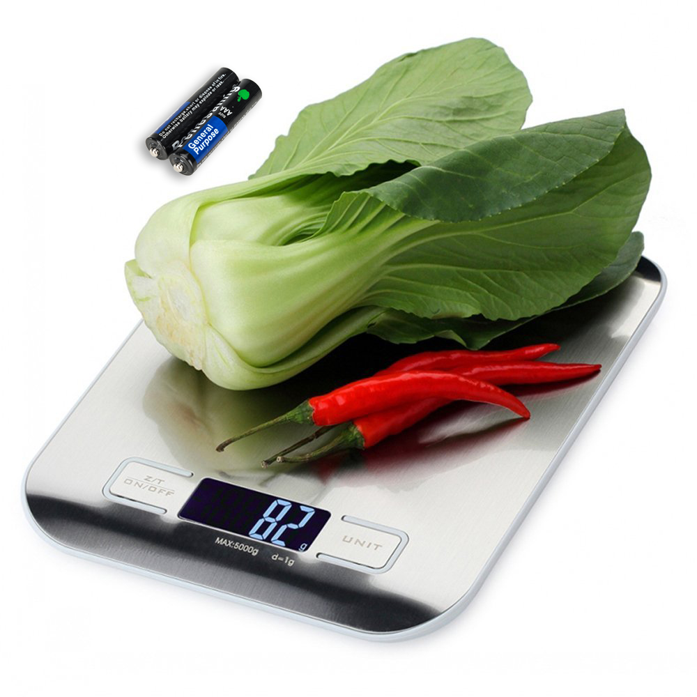 LCD Digital Kitchen Scale Fingerprint-proof Stainless Steel Platform 5000g / 1g Weighing Device with Back......