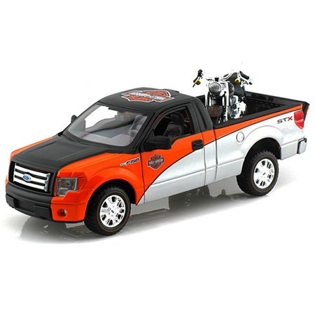 2010/Ford F-150 STX Pickup Harley-Davidson / FLSTF Fat Boy Motorcycle, Black, Orange & Silver - Maisto HD 32187 - 1/27 scale, 1/24 Scale Diecast Model Toy Car & Motorcycle