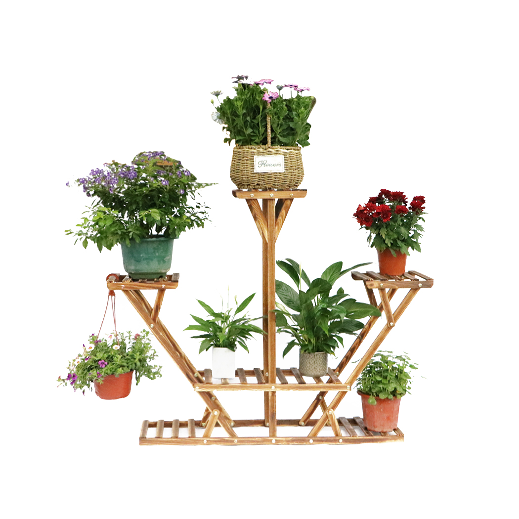 6-Tier Plant Stand Wooden Plant Stands Shelf for Indoors and Outdoor Yard Decor Flower... by Calves LTD