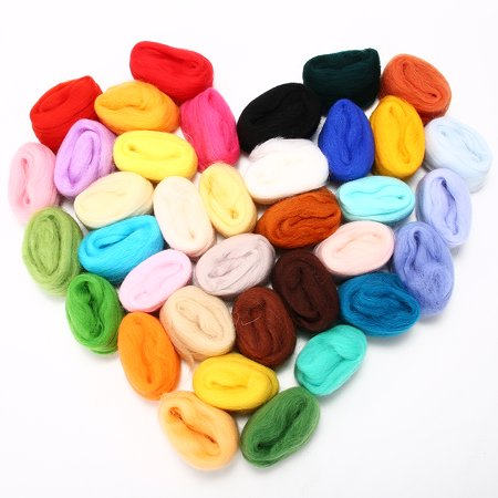 36 Colors Fibre Wool Yarn Roving for Needle Felting Hand Spinning DIY Craft - Top Spinning Fiber Roving Felt