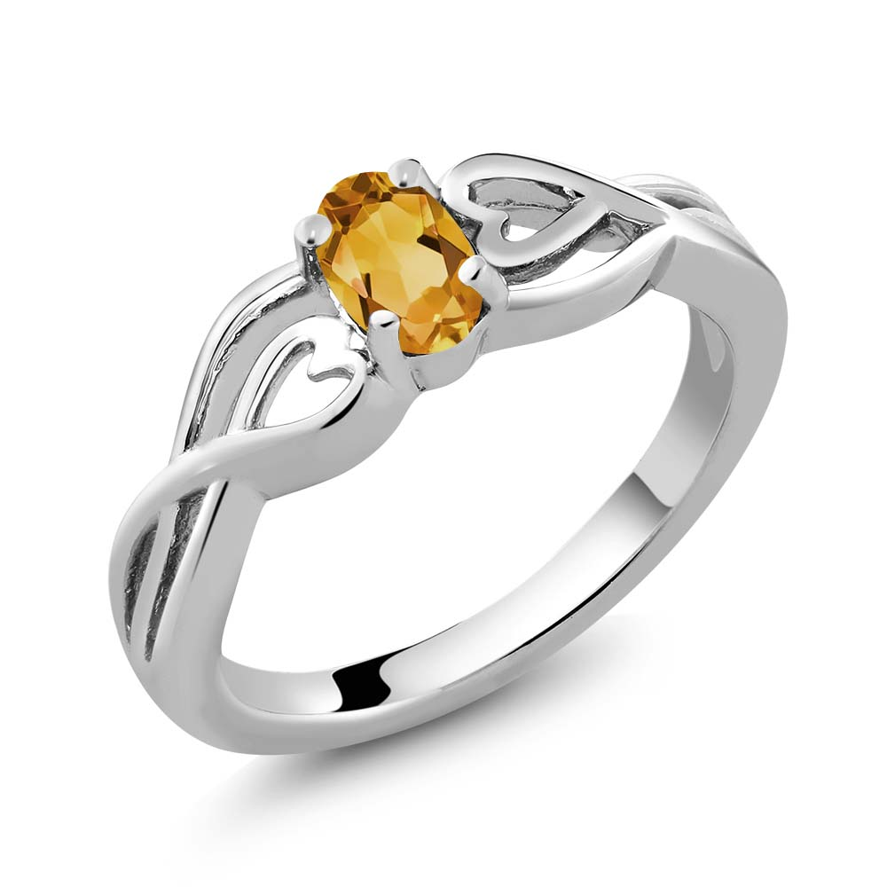 0.40 Ct Oval Yellow Citrine Sterling Silver Ring