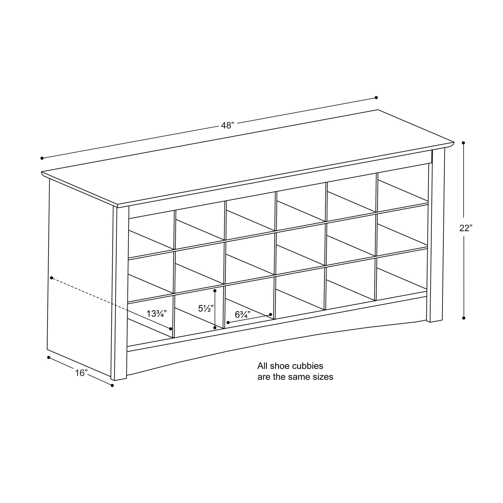 Genial Prepac 18 Pair Entryway Shoe Storage Cubby Bench, Multiple Finishes    Walmart.com