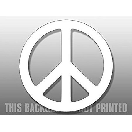 WHITE Peace Sign Symbol Sticker Decal (logo vinyl decal) Size: 4 x 4 inch