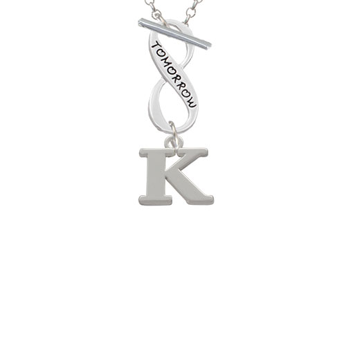 Large Initial - K - Today Tomorrow Infinity Toggle Chain Necklace