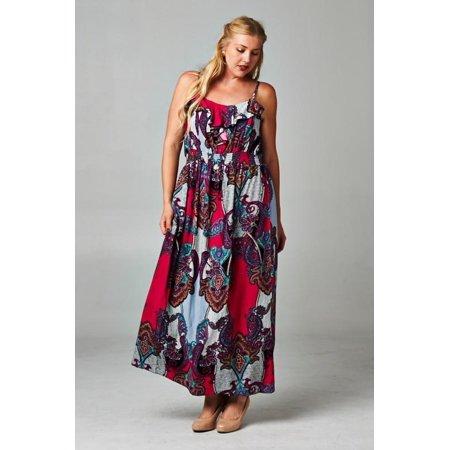 07f58fdc0ae Christine V - Christine V Women s Plus Size Printed Smocked Maxi Dress -  Pink Red Pattern Print - 3X - Walmart.com