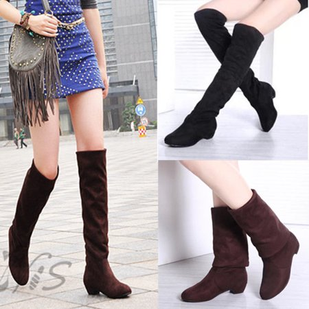 New Women Thigh High Heel Over Knee Suede Stretch Slouch Warm Winter Boots Shoes