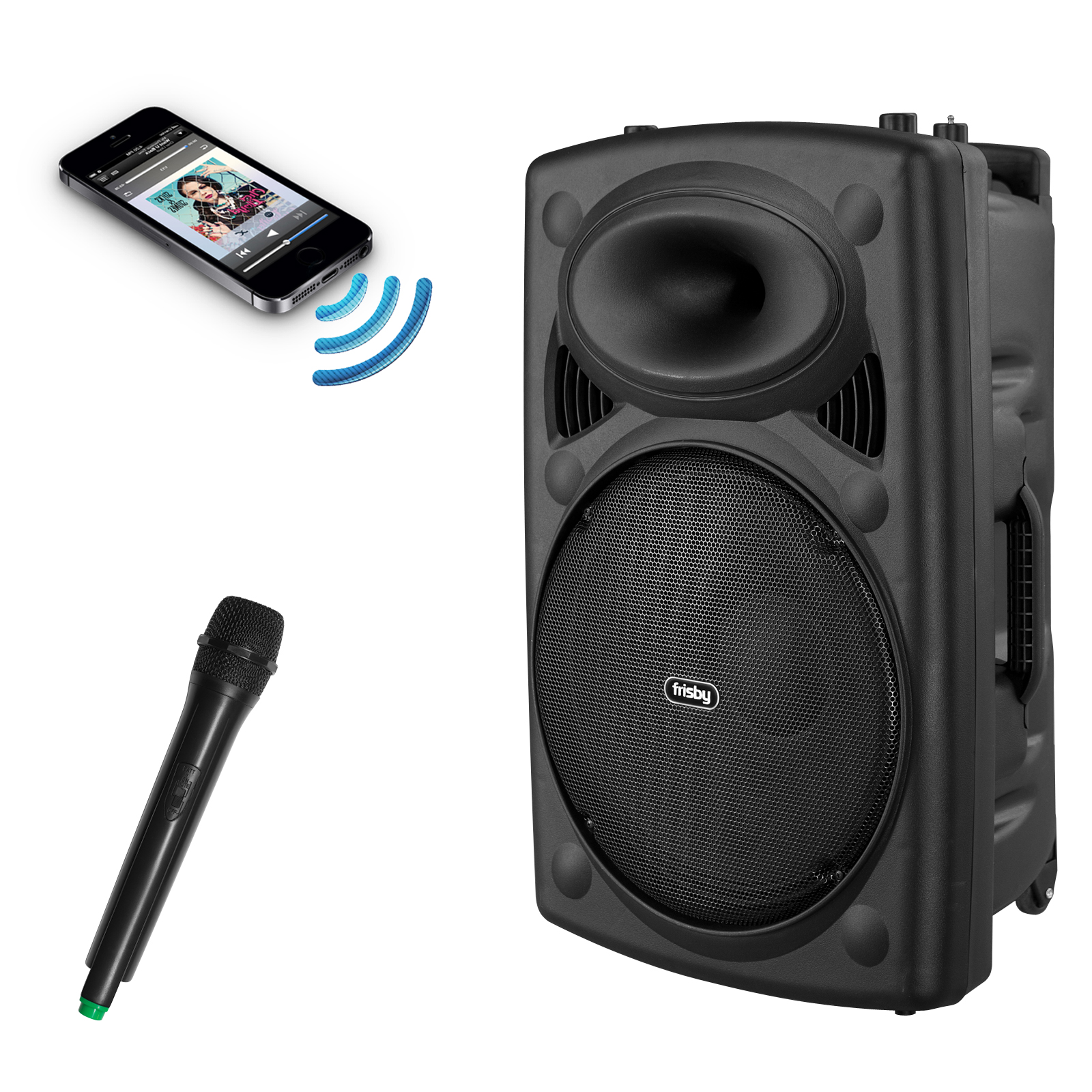 Frisby FS-4060P Portable Rechargeable Bluetooth Karaoke Machine PA Speaker System w/ Telescoping Handle & Wheels w/ Wireless Microphone, FM Radio, USB SD Slots for Parties & Events