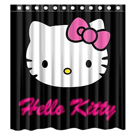 DEYOU Hello Kitty Shower Curtain Polyester Fabric Bathroom Size 66x72 Inches