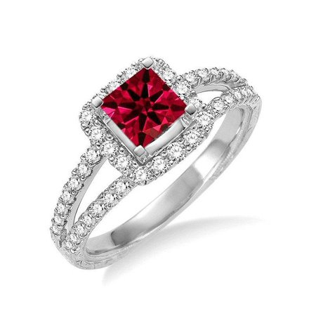 Jeenjewels Fantastic 1 25 Carat Princess Cut Ruby And Diamond Wedding Ring In 14k White Gold Affordable Engagement