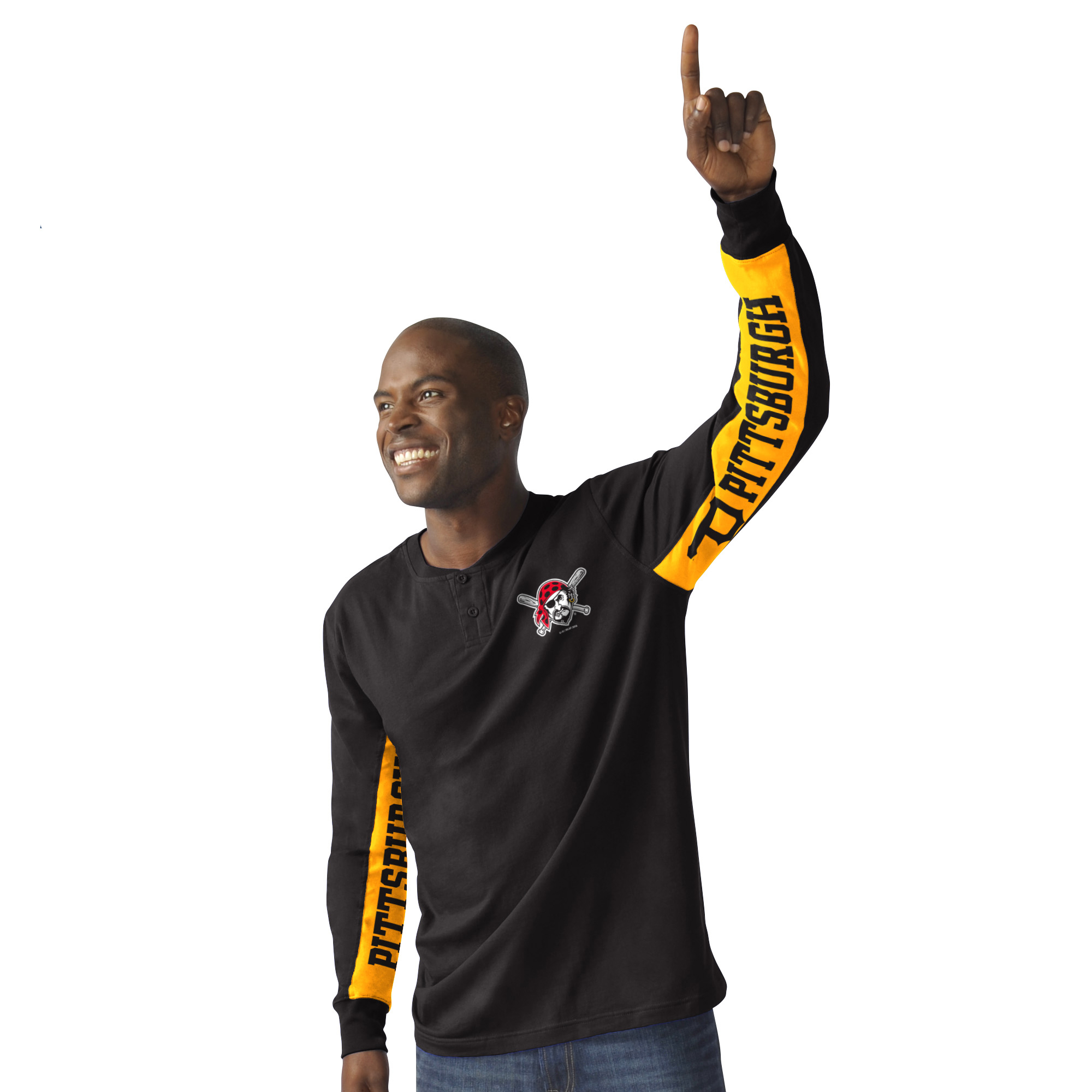 Pittsburgh Pirates G-III Sports by Carl Banks Hands High Rookie Henley Long Sleeve T-Shirt - Black