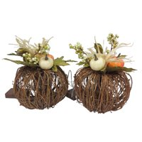 Way to Celebrate Halloween Prelit Twig Pumpkins Decoration, Set of 2