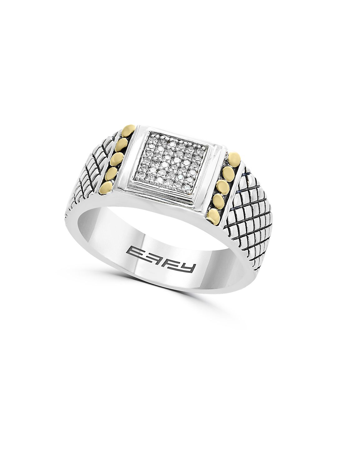 Gento Diamond, 18K Yellow Gold and Sterling Silver Ring