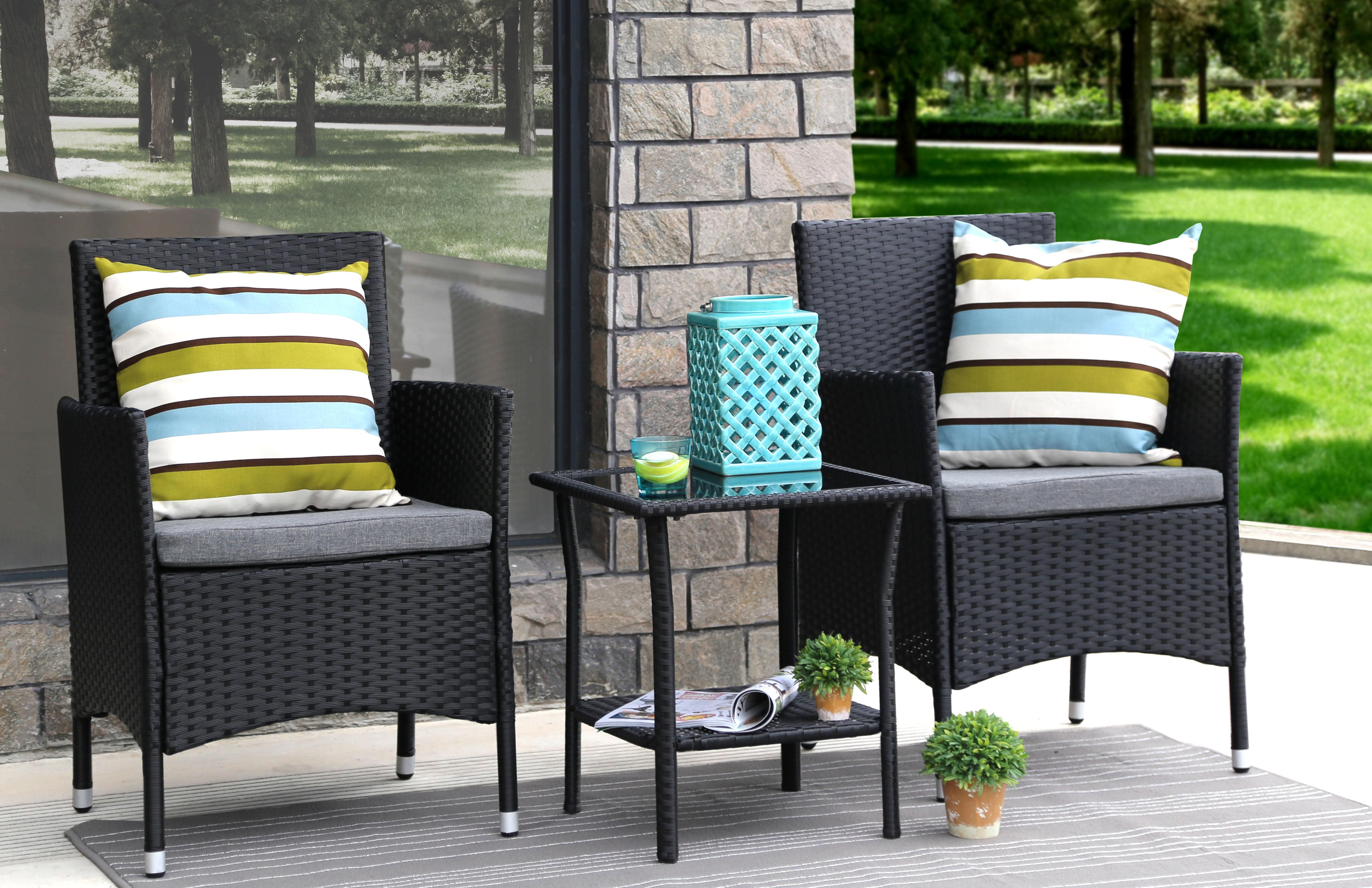 Baner Garden Outdoor Furniture Complete Patio Cushion PE Wicker Rattan Garden Dining Room Set, Black, 3-Pieces by Overstock