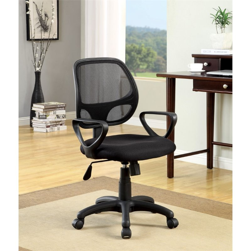Furniture of America Scotty Mesh Back Office Chair in Black