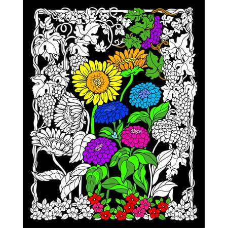 Fuzzy Posters For Adults (Sunflower Garden - Fuzzy Velvet Coloring Poster 16x20)