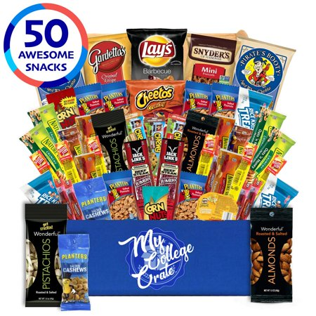 My College Crate Man Box Ultimate Men's Snack Care Package for College Students - Variety Assortment of Cookies, Pretzels, Chips, Jerky & Nuts - 40 Snacks - College Survival Kit ()