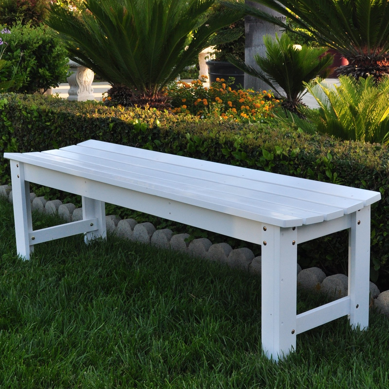 Shine Company Belfort Backless Wood Garden Bench