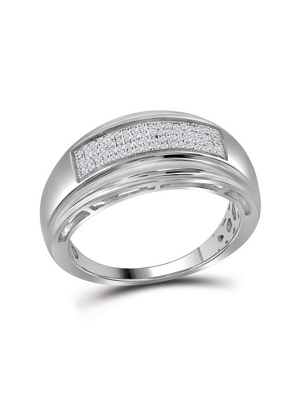 FB Jewels 925 Sterling Silver Micro Pave Cubic Zirconia CZ Mens Wedding Ring Band