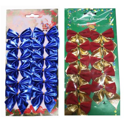 Fancyleo 24 Pcs Mini 5cm/1.96in Christmas Charms Decoration Ornaments Ribbon Bows