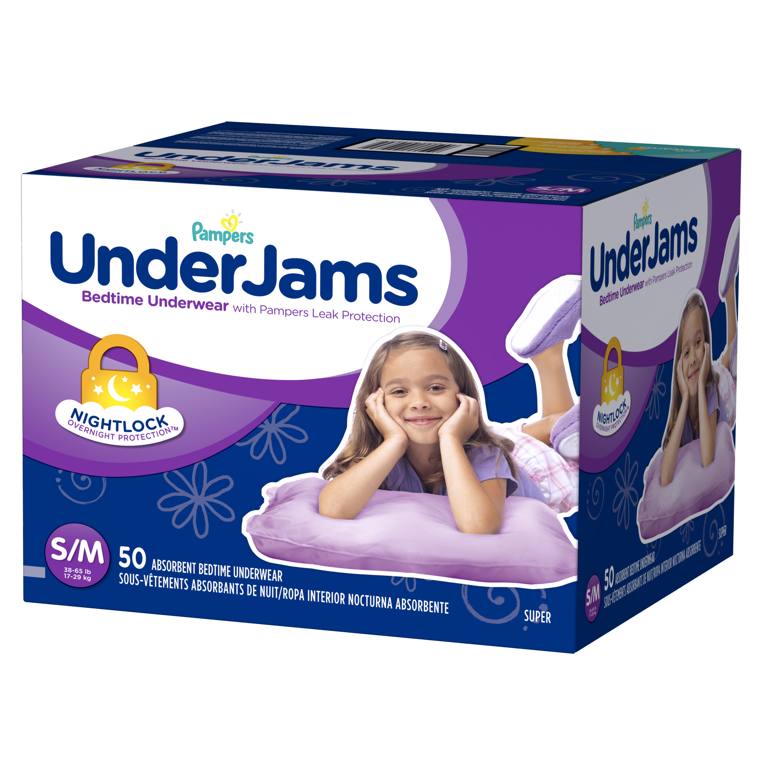 Pampers UnderJams Bedtime Underwear Girls Size S/M 50 count