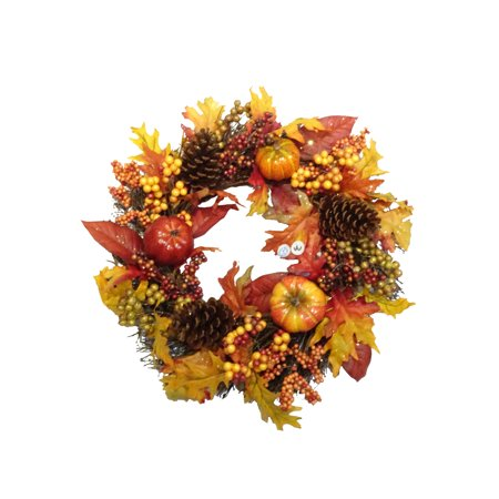 Harvest Foliage and Pumpkin Wreath Thanksgiving
