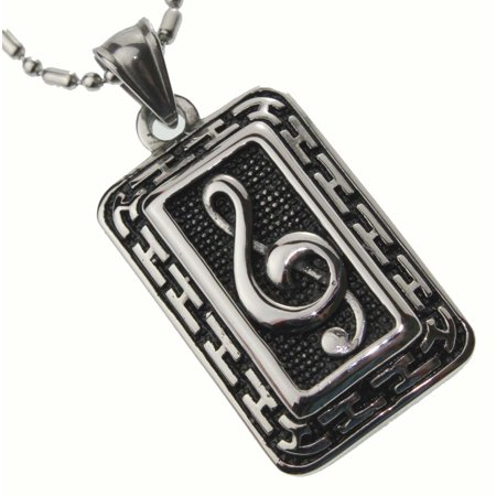 R.H. Jewelry Stainless Steel Pendant, Music Note Bar Necklace