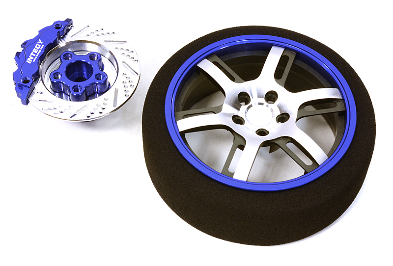Integy RC Toy Model Hop-ups C26911BLUE Billet Machined Alloy 6 Spoke Steering Wheel Set... by Integy