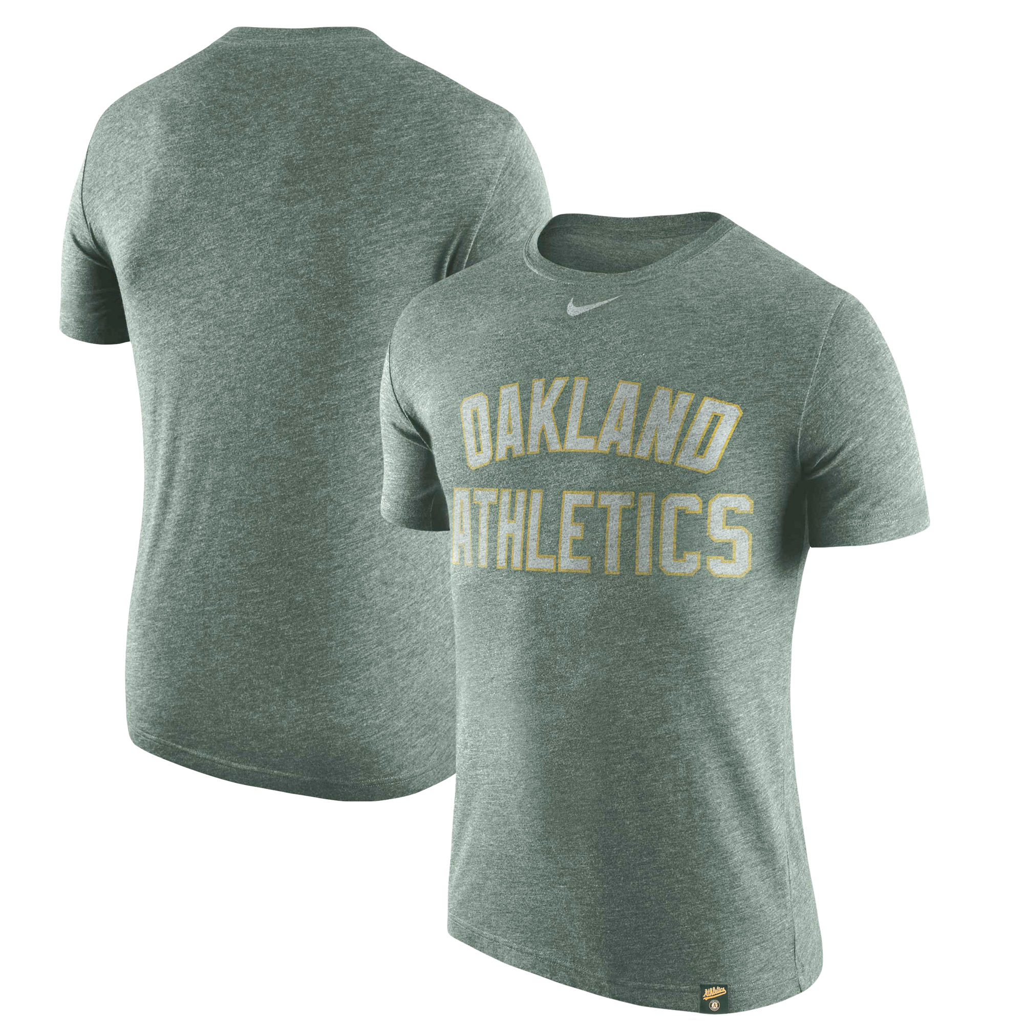 Oakland Athletics Nike Tri-Blend DNA Wordmark Performance T-Shirt - Heathered Green