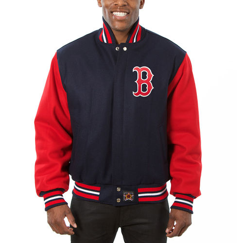 Men's JH Design Navy/Red Boston Red Sox Two-Tone Wool Jacket