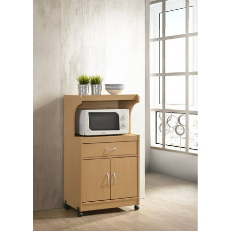 Hodedah Microwave Kitchen Cart, Beech