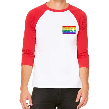 Unisex Chest Rainbow Pride Flag White/Red C5 3/4 Sleeve Baseball T-Shirt Small Chest Padded Baseball Shirt