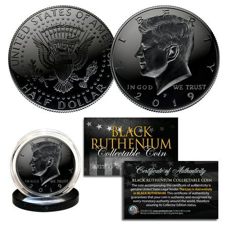2019 BLACK RUTHENIUM JFK Kennedy Half Dollar U.S. Coin w/COA (Philadelphia Mint)