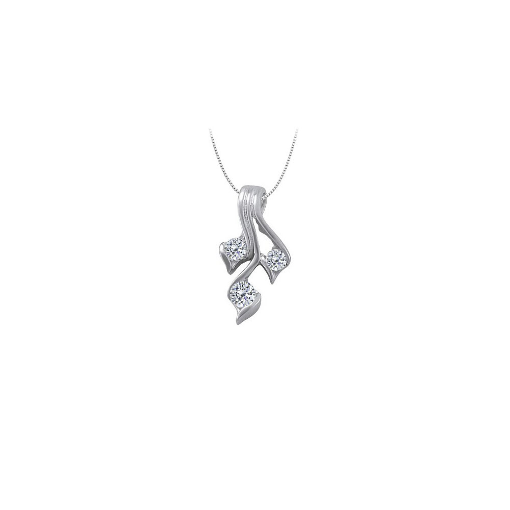 Three Stone Cubic Zirconia Pendant in Sterling Silver 0.25 CT TGWPerfect Jewelry for Women - image 2 de 2